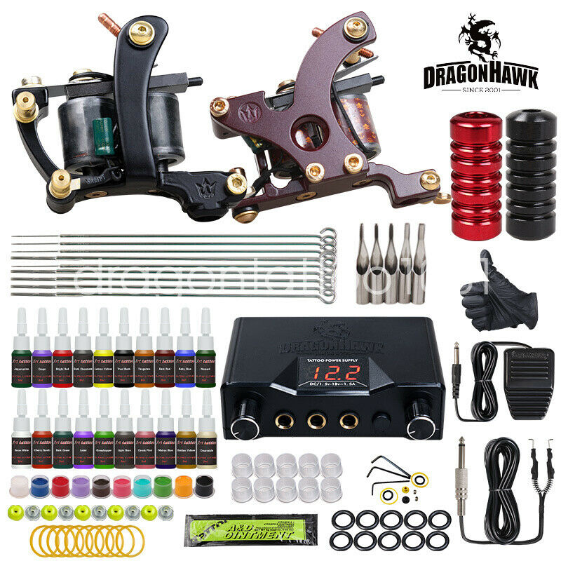 Dragonhawk Tattoo Kit Needles 2 Machine Guns Power Supply Grip Tip 20 Color Inks