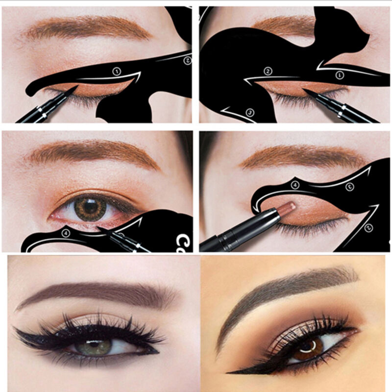 Eye Of Cat Fish Tail Double Wing Eyeliner Stencil Template ...
