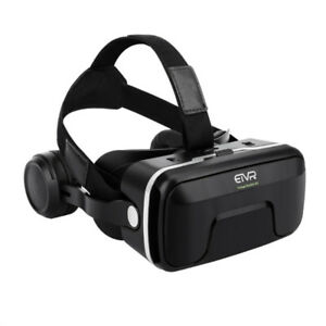 VR Headset with headphones+trigger button for devices up to 6in