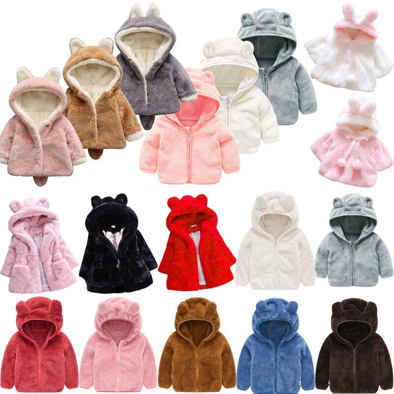Toddler Baby Girls Hoodie Fleece Coats Winter Hooded Outwear
