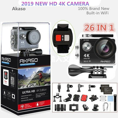 Akaso EK7000 WiFi 4K Waterproof Sports Action Camera DV Camcorder 12MP HDMI New