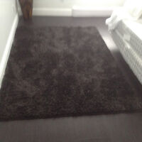 Pair of identical black shag 5x7 area rugs mint condition