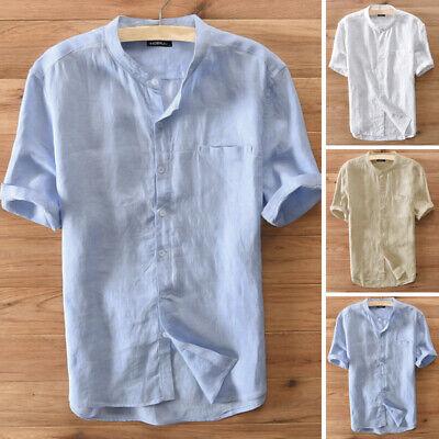 Chemise à manches courtes en lin et coton pour hommes rétro v cou Fête Ajustée
