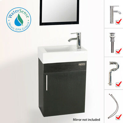 """19"""" Eclife Small Floating Bathroom Vanity W/ Ceramic Sink Faucet Drain Combo"""