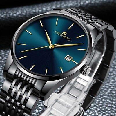 Fashion Mens Watches Stainless Steel Sport Quartz Analog Date Hours Wrist Watch