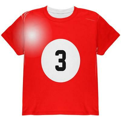 Halloween Billiard Pool Ball Three Costume Youth T Shirt - Pool Halloween