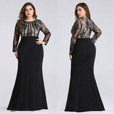 US Ever-Pretty Plus Size Formal Bodycon Prom Gown Long Lace Evening Dress Black
