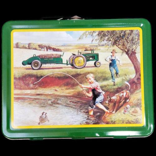 John Deere Turtle Trouble Metal Lunch Box Tin Green Logo 22002 Fishing Tractor