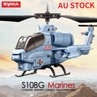 Syma S108 3CH RC Mini Helicopter Drone Remote Control LED Light Apache Gyro Gift