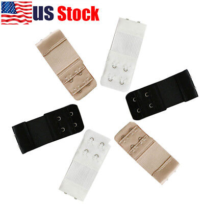 USA 6Pcs 2 Hooks Bra Extender Elastic Extension Back Clip Strap Clasp Buckle New