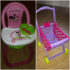 Minnie Mouse shopping basket and Minnie Mouse Dolls High Chair