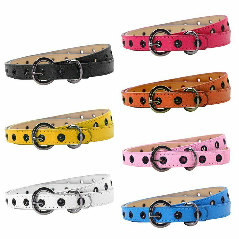 Toddler Girls Boys Leather Waistband Kid Baby Adjustable-Buckle Belt Strap US
