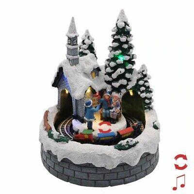 NEW Christmas Village Santa Train Musical Xmas decoration Lights Toy Gift