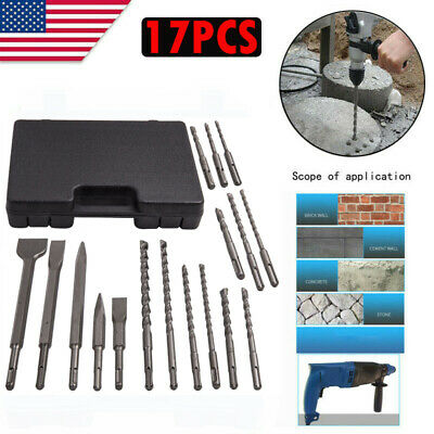 17 Pcs Sds Plus Rotary Hammer Drill Chisel Set Concrete Tools For Drill Holes