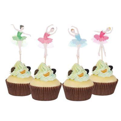 4X(24 pcs Ballerina Maedchen Cupcake Baby Geburtstag Party Dekorationen Kuche PT (Ballerina Dekoration Geburtstag Party)