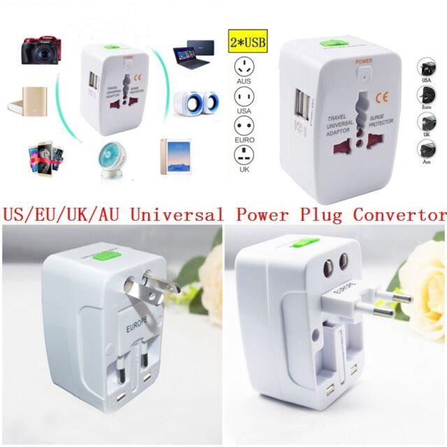 US EU AU UK To Universal World Travel AC Power Socket Plug Adapter USB Convertor