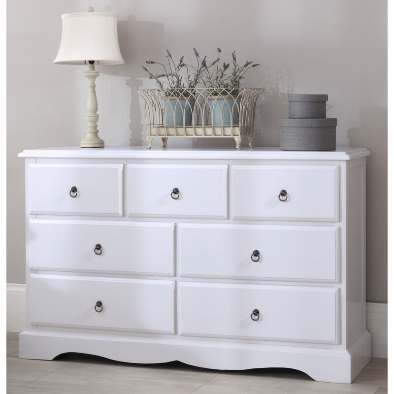 Bedroom Furniture Direct Romance True White Large Chest of Drawersin Norwich, NorfolkGumtree - One year old. Like new. Bedroom Furniture Direct Romance True White Large Chest of Drawers Beautiful Shabby Chic true white 3 over 4 Chest of Drawers with lovely antique brass drop ring handles. Elegant sweetheart front frieze and chamfered top....