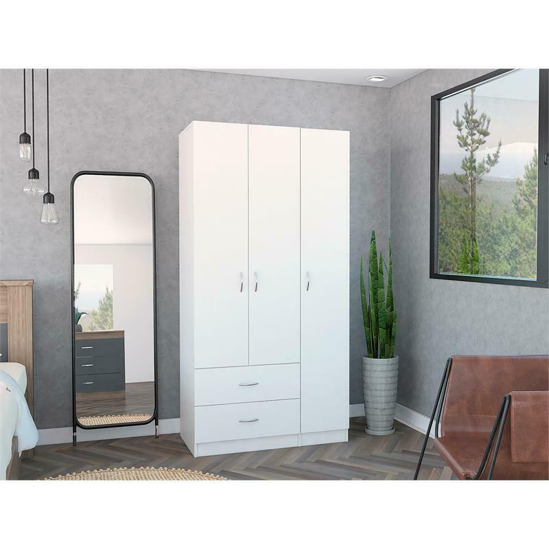 Tuhome Furniture Austral 3 Door Armoire in White