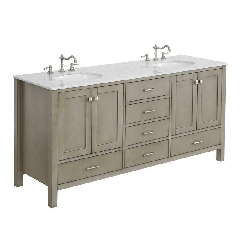 """Horizon 72"""" Double Bath Vanity Cabinet with Carrara Stone Top in Weathered Gray"""
