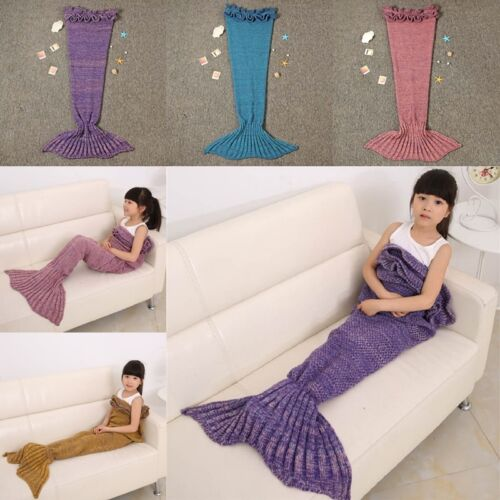 UK Children Crocheted Kids Mermaid Tail Cocoon Knit Lapghan Blanket Lapghan Rug