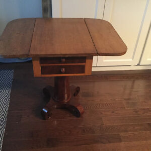 Antique oak and rosewood 2 drawer, drop leaf end-table