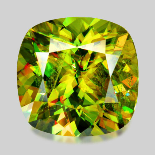 5.22cts EXQUISITE TOP CUSHION CUT NATURAL CHARTREUSE GREEN SPHENE WATCH VIDEO