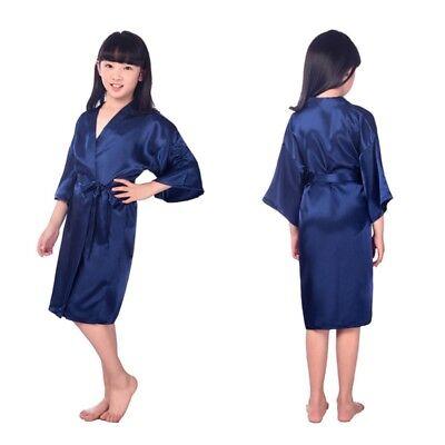 US Girls Kids Silk Satin Kimono Robe Dressing Gown Bridesmaid Sleepwear Bathrobe (Childrens Robes)
