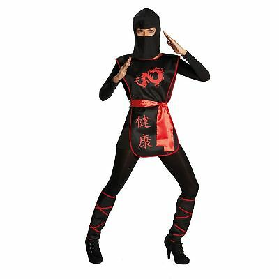 Krieg Kostüm (4 tlg. Ninja Kriegerin Kostüm Damen Dragon schwarz rot 36,38,40,42)