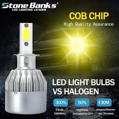 1 Pair H3 200W 20000LM COB LED Headlight Conversion Kit Bulbs 3000K Yellow Lamp
