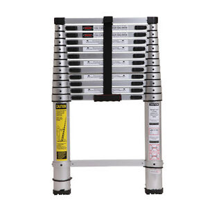 metaltech telescopic ladder 12.5 ft aluminum professional grd-2