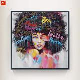 African American Black Art Canvas Wall Art, Oil Graffiti Unframed 24X24