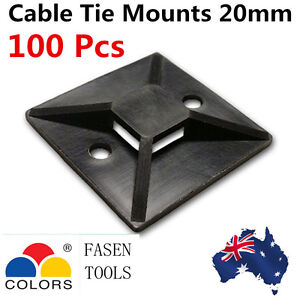 100PcsSelf Adhesive Cable Wire Zip Tie Mounts Mounting Base Clamps Clip 20*20mm