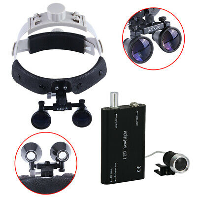 Dental Magnifier Binocular Loupes Headband With Led Head Light Lamp Kit 3.5x-r