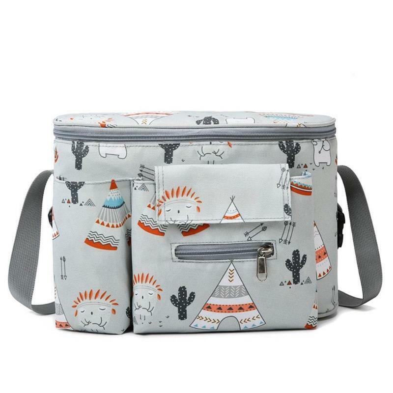 Clip or Strap on Nappy Bag for Stroller/Pram - Tribal Ash