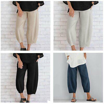 Women Ladies casual Cotton Linen Baggy Harem Plus Size Trousers Loose Pants UK