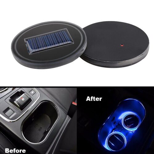 2x Cup Holder Solar Bottom Blue Car SUV Pad Mat Cover Energy LED Light Trim
