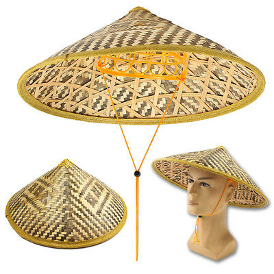 Bamboo Coolie Chinese Conical Hat Asian Japanese Straw Sun Rice Farmer Costume