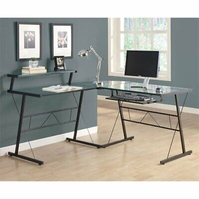 Monarch Glass Top Metal L Shaped Computer Desk in Black for sale  Sterling