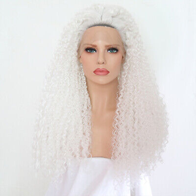White Kinky Curly Synthetic Lace Front Wig Beautiful Cosplay Hot Pre Plucked (Beautiful Synthetic Lace)