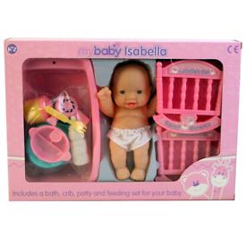Baby Isabella doll with crib, bath, feeding and accessories