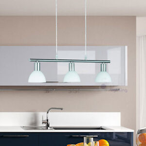 Lampadario moderno acciaio cromato lampada sospensione vetro bianco cucina bagno ebay - Lampadario moderno cucina ...