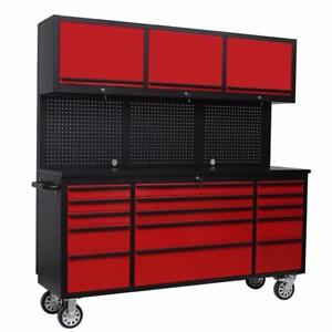 NEW 18 DRAWER 72 BENCH RED & BLACK TOOL BENCH CABINET WORK TABLE TOOL BOX HTC7218RC