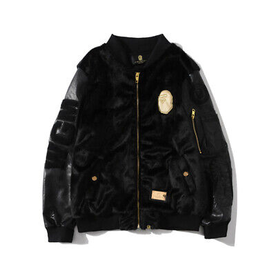 Black Casual A Bathing Ape BAPE Shark Head Splice Baseball PU Plush Jacket Coat
