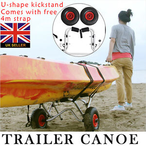 Kayak Boat Canoe Gear Dolly Cart Trailer Carrier Trolley Wheels with 4m Straps