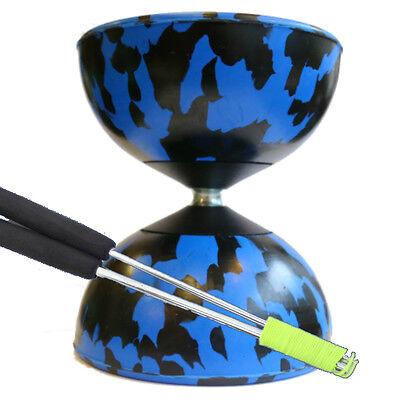 Blue/ Black Mr B Harlequin Diabolo & Metal Sticks - Pro Rubber Diablo Set