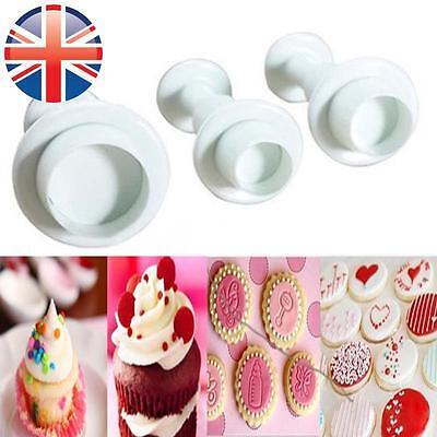 *UK Seller* 3 X Round Fondant Sugarcraft Cake Decorating Icing Plunger Cutter