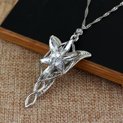 - Lord of The Rings Arwen's Necklace arwen evenstar pendant crystal SILVER PLATED!