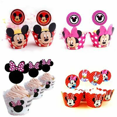 Minnie Mouse Cupcake Wrappers (24pcs=12Set Cartoon Mickey Minnie Mouse Cupcake Wrappers Toppers Kids Baby)