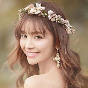 Floral Crown Rose Flower Headband Hairband Wedding Hair Garland Headpiece Girl
