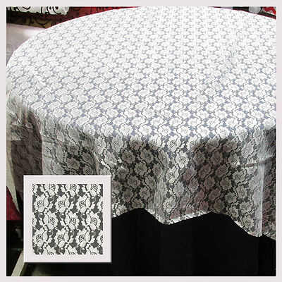 """10 LACE TABLE OVERLAYS 60"""" x 60"""" SQUARE TABLECLOTHS IVORY 100% POLY USA MADE"""